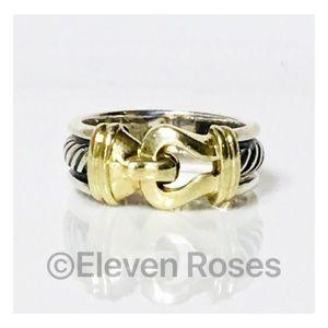 David Yurman 925 & 14k Classic Cable Buckle Ring